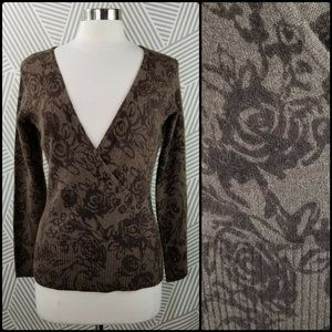 Carole Little Floral Size Small sweater Lambs wool